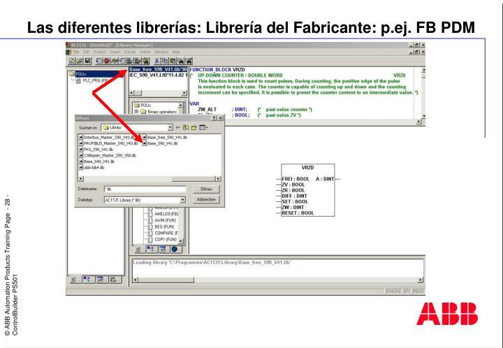 Las diferentes librerías: Librería del Fabricante: p.ej. FB PDM