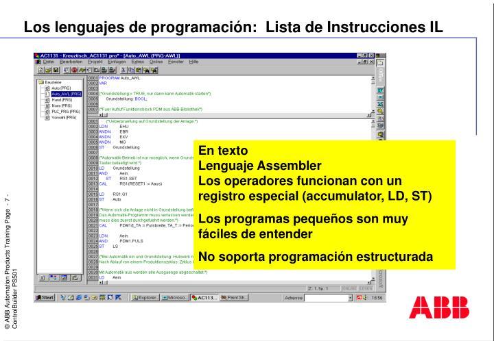 Los lenguajes de programación:  Lista de Instrucciones IL