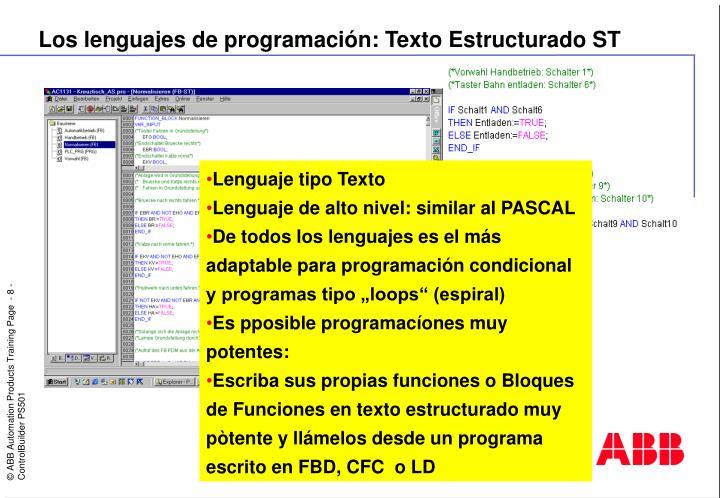 Los lenguajes de programación: Texto Estructurado ST