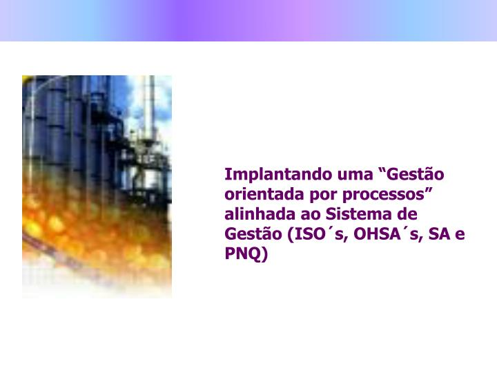 """Implantando uma """"Gestão orientada por processos"""" alinhada ao Sistema de Gestão (ISO´s, OHSA´s, SA e PNQ)"""