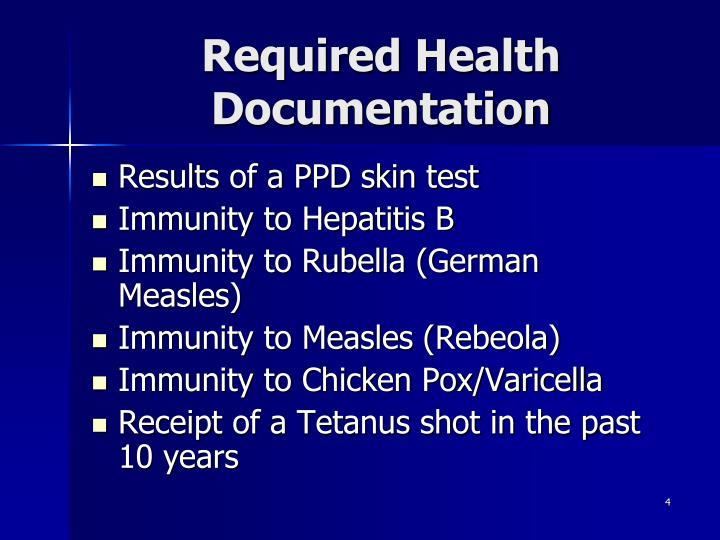 Required Health Documentation