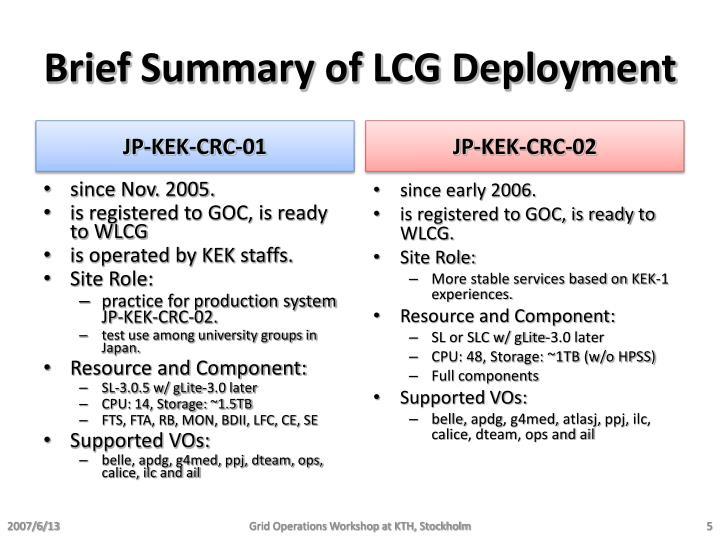 Brief Summary of LCG Deployment
