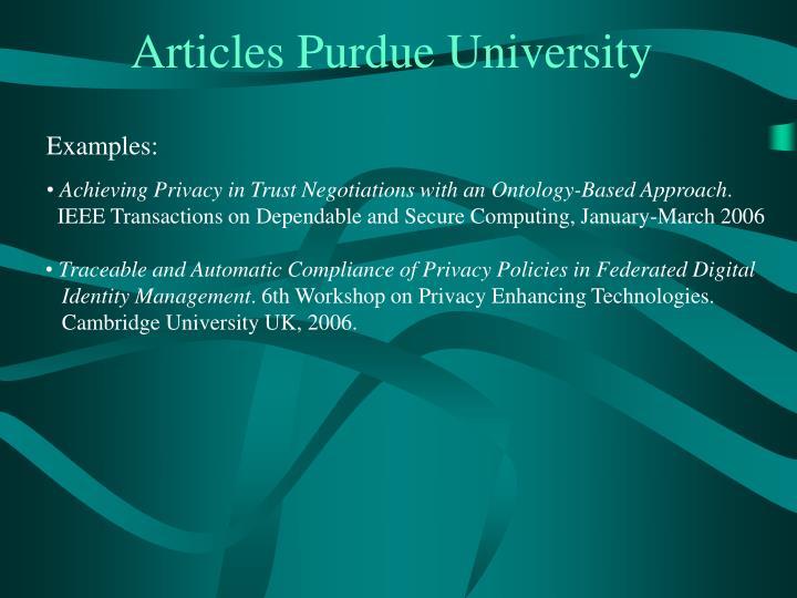 Articles Purdue University