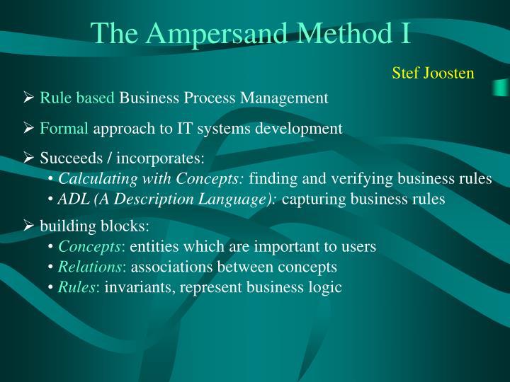 The Ampersand Method I