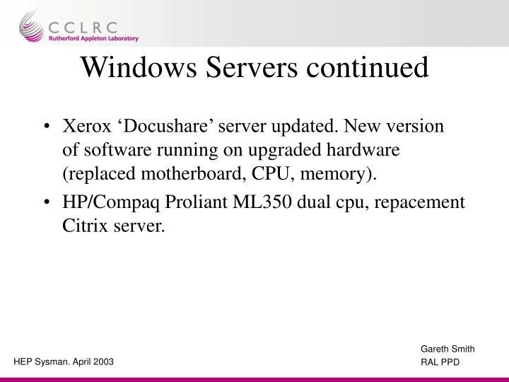Windows Servers continued