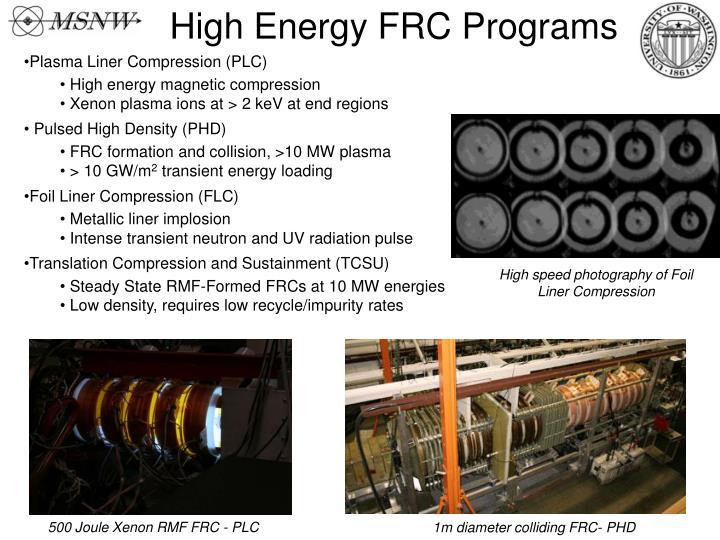 High Energy FRC Programs