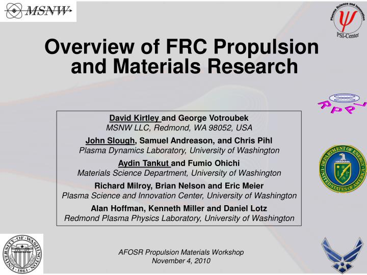 Overview of FRC Propulsion