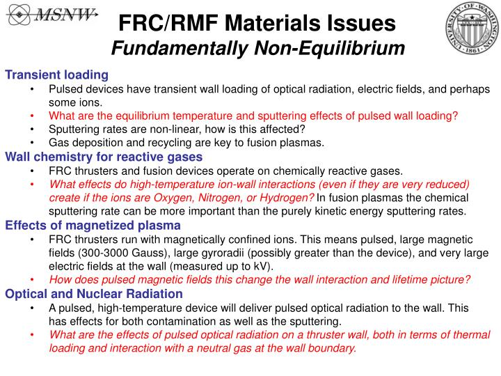 FRC/RMF Materials Issues