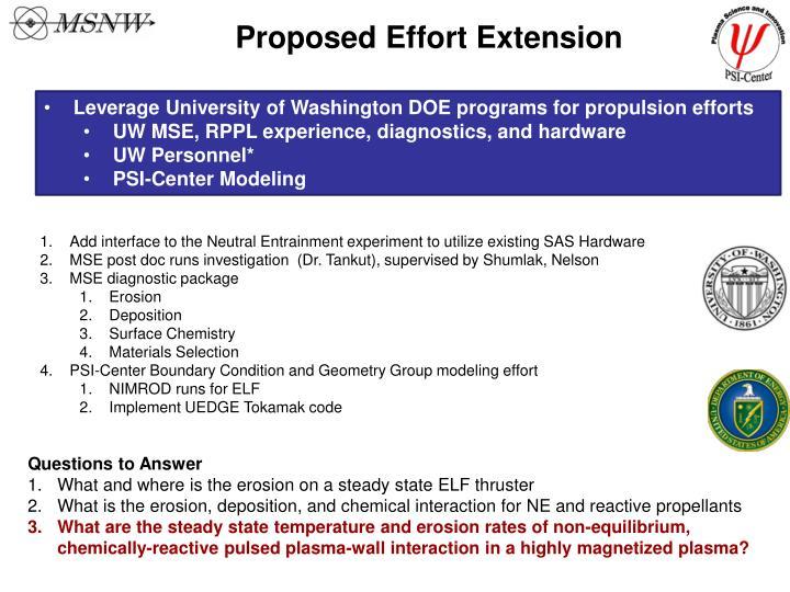 Proposed Effort Extension