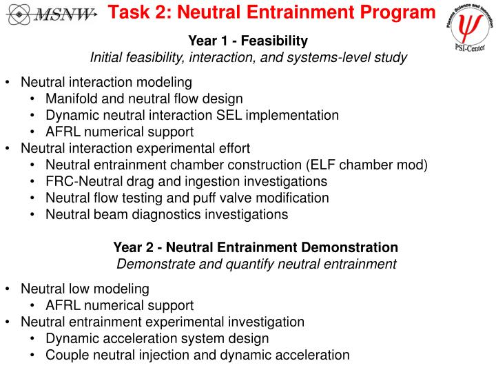 Task 2: Neutral Entrainment Program