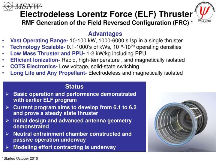 Electrodeless Lorentz Force (ELF) Thruster