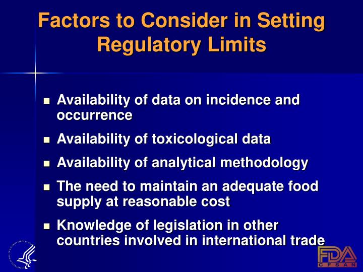 Factors to Consider in Setting Regulatory Limits