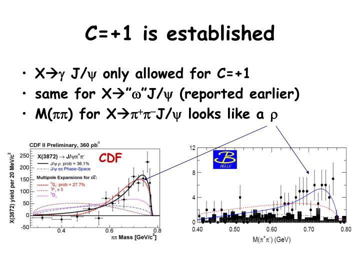 C=+1 is established