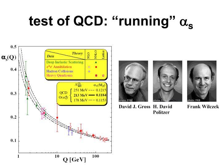 "test of QCD: ""running"""
