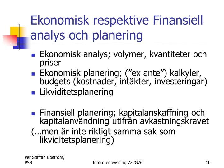 Ekonomisk respektive Finansiell