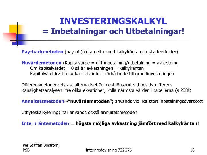 INVESTERINGSKALKYL
