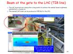 beam at the gate to the lhc ti8 line