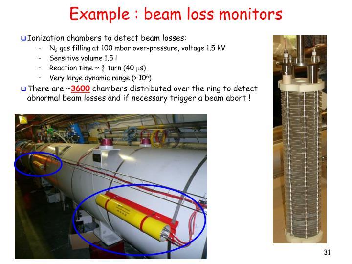 Example : beam loss monitors