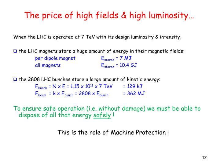 The price of high fields & high luminosity…