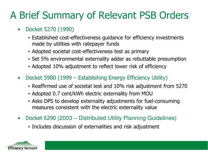 A brief summary of relevant psb orders