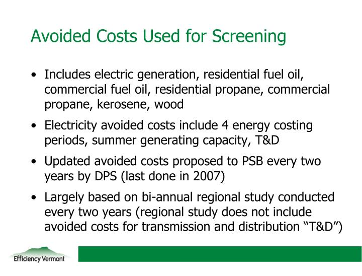 Avoided Costs Used for Screening