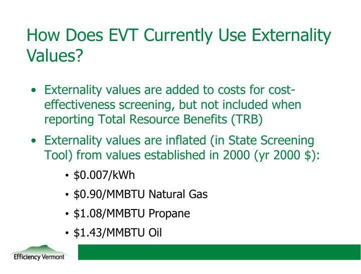 How Does EVT Currently Use Externality Values?