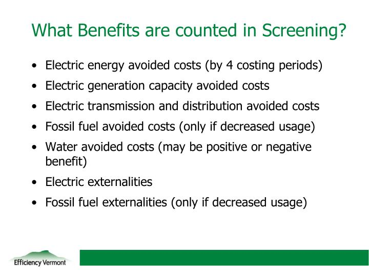 What Benefits are counted in Screening?