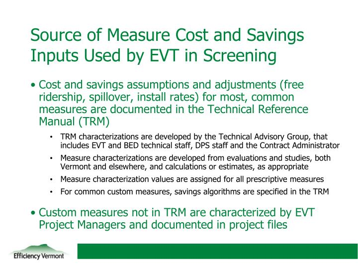 Source of Measure Cost and Savings Inputs Used by EVT in Screening