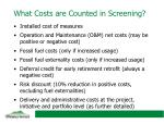 what costs are counted in screening