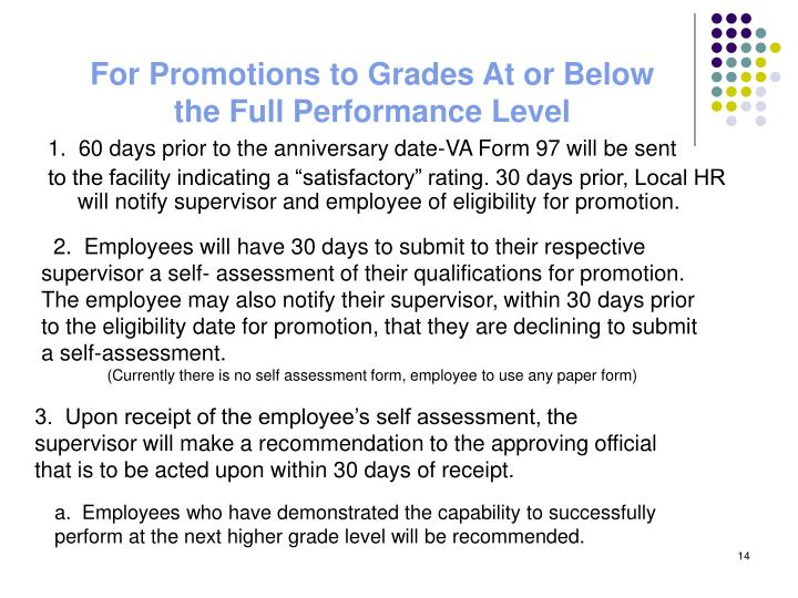 For Promotions to Grades At or Below the Full Performance Level