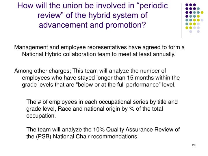 """How will the union be involved in """"periodic review"""" of the hybrid system of advancement and promotion?"""