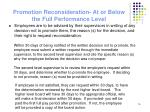 promotion reconsideration at or below the full performance level