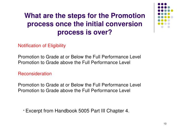 What are the steps for the Promotion process once the initial conversion process is over?
