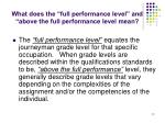 what does the full performance level and above the full performance level mean