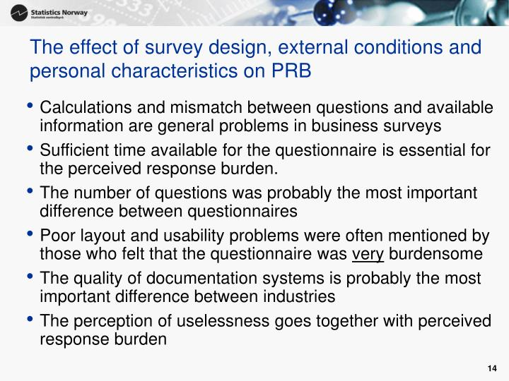 The effect of survey design, external conditions and personal characteristics on PRB