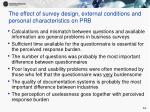 the effect of survey design external conditions and personal characteristics on prb
