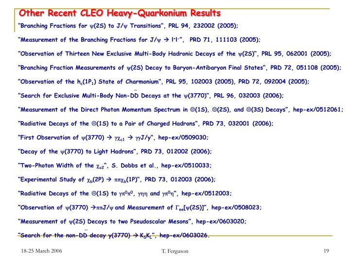 Other Recent CLEO Heavy-Quarkonium Results