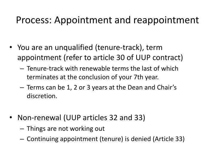Process: Appointment and reappointment