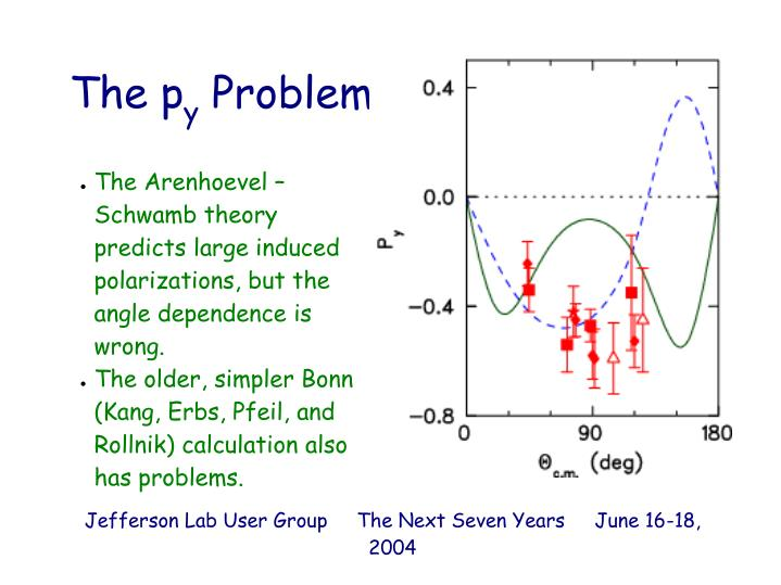The Arenhoevel – Schwamb theory predicts large induced polarizations, but the angle dependence is wrong.