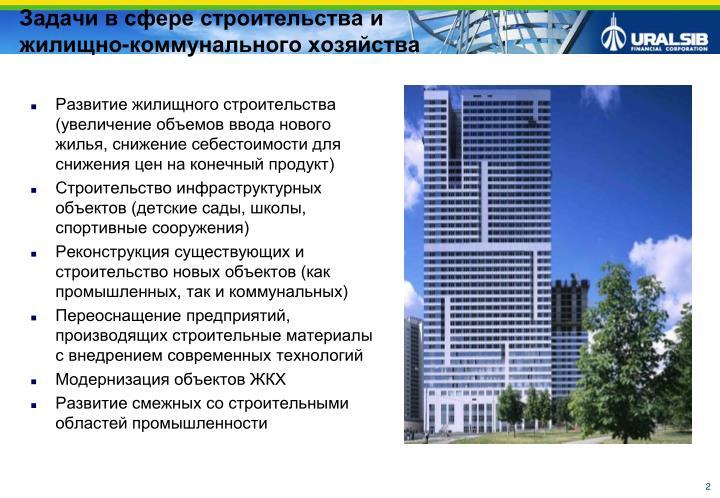 Развитие жилищного строительства (увеличение объемов ввода нового жилья, снижение себестоимости для снижения цен на конечный продукт)