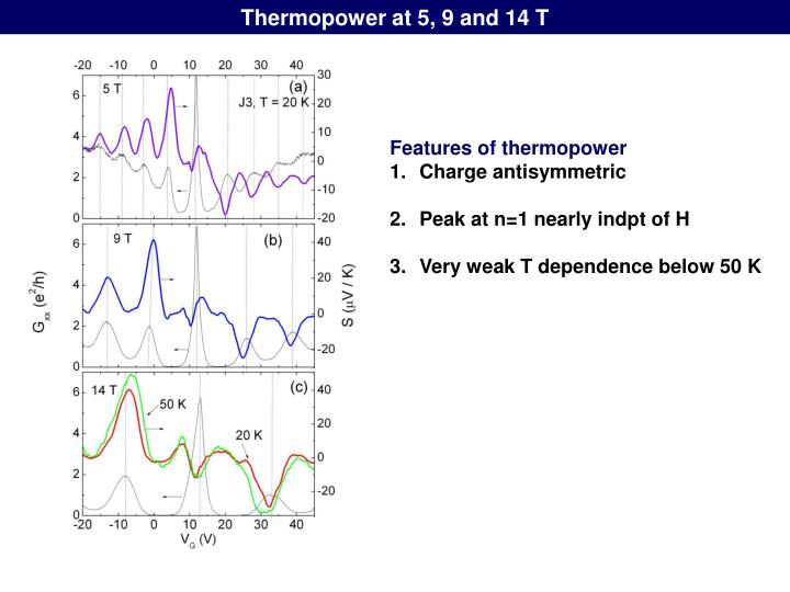 Thermopower at 5, 9 and 14 T