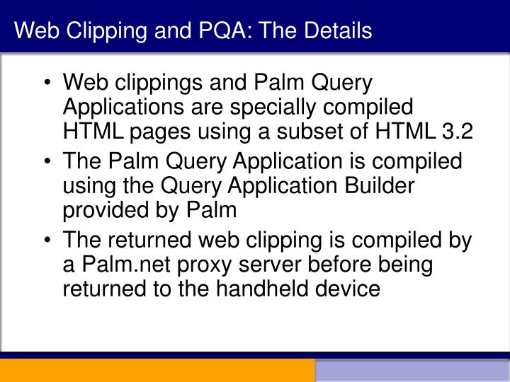 Web Clipping and PQA: The Details