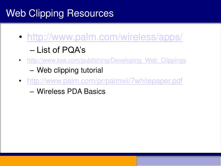 Web Clipping Resources