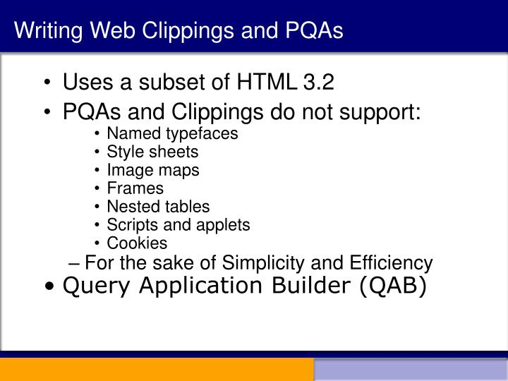Writing Web Clippings and PQAs