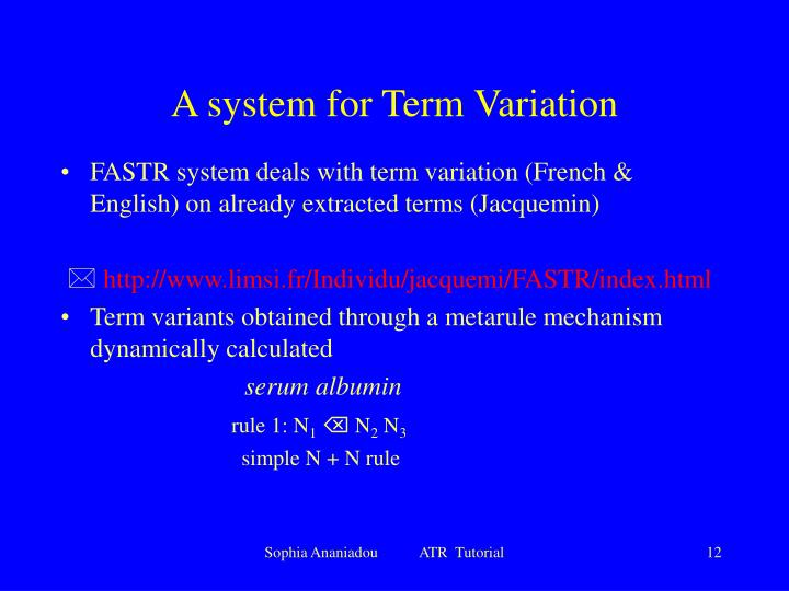 A system for Term Variation