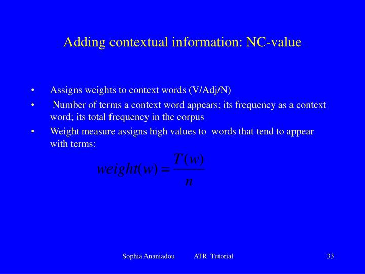 Adding contextual information: NC-value