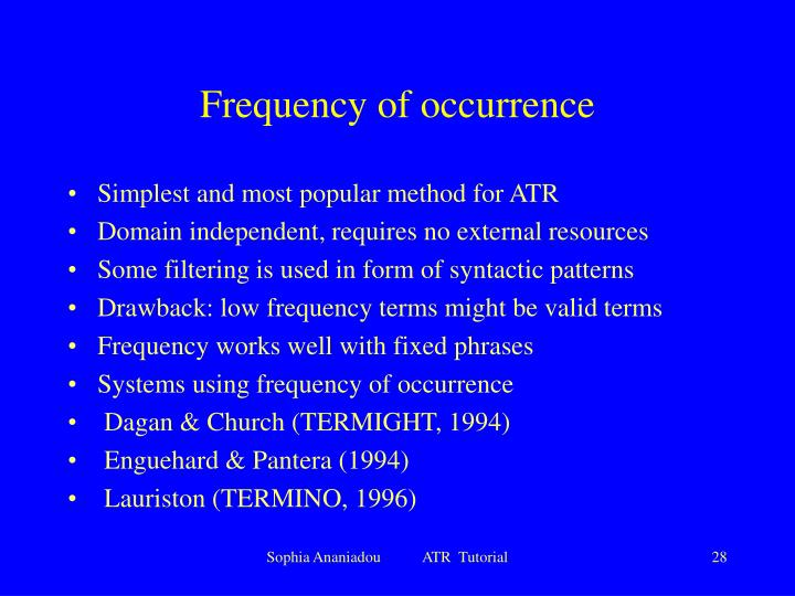 Frequency of occurrence