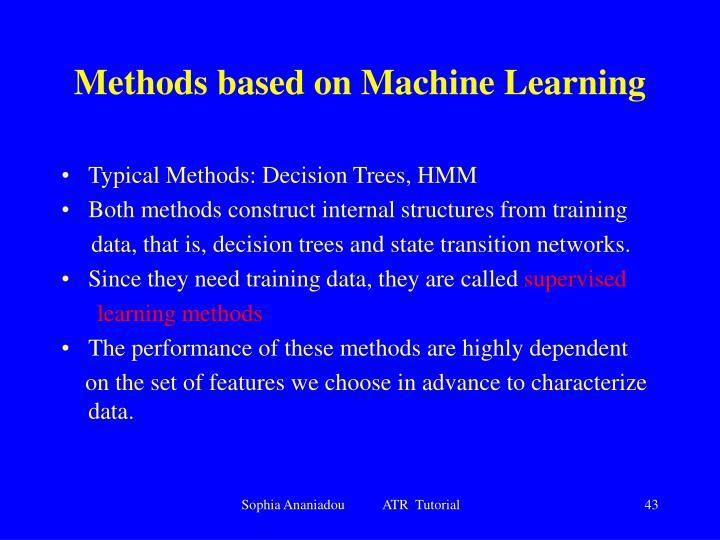 Methods based on Machine Learning