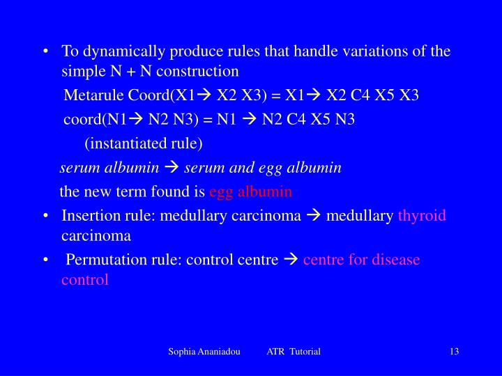 To dynamically produce rules that handle variations of the simple N + N construction