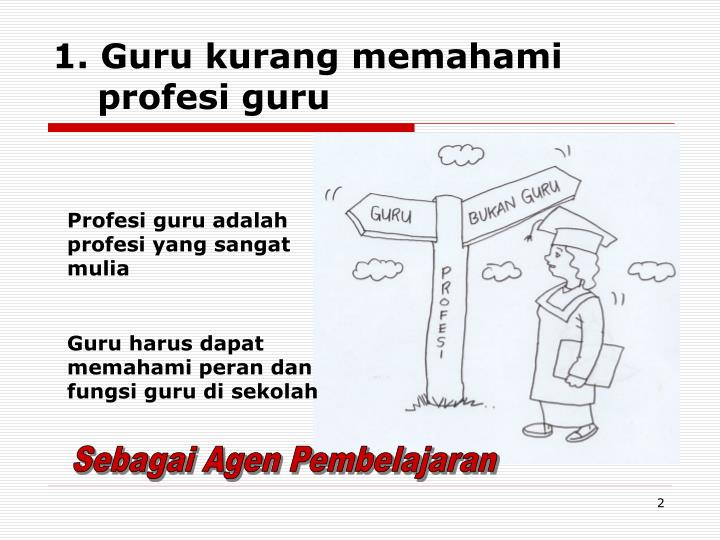 1. Guru kurang memahami    profesi guru